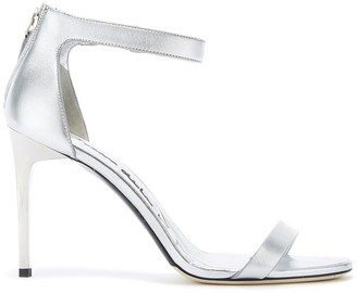 Oscar de la Renta Silver Leather Ange Sandals