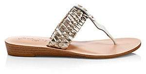 Jack Rogers Women's Tinsley Metallic Braided Leather Demi Wedge Sandals