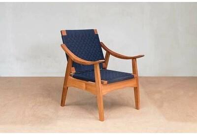 """Thumbnail for your product : Masaya & Co Izapa 28"""" Wide Armchair Upholstery: Navy Blue Manila, Finish: Royal Mahogany"""