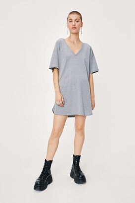 Nasty Gal Womens V Happy Mini Tee Dress - Grey