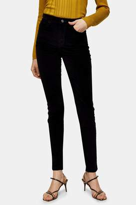 Topshop Womens Black Velvet Jamie Skinny Jeans - Black