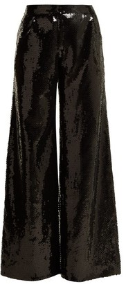Halpern Wide-leg Sequined Trousers - Black