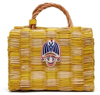 Heimat Atlantica - Tom Tom Checked Reed Basket Bag - Womens - Yellow Multi