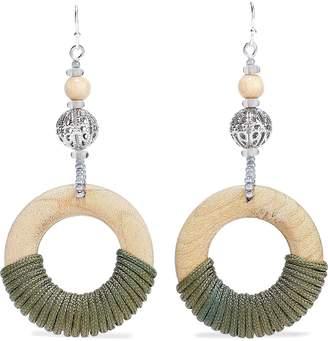 Ben-Amun Ben Amun Silver-tone, Bead, Wood And Cord Earrings