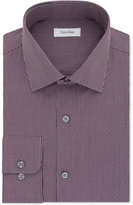 Calvin Klein Men's STEEL Classic-Fit Non-Iron Performance Red Dot Stripe Dress Shirt