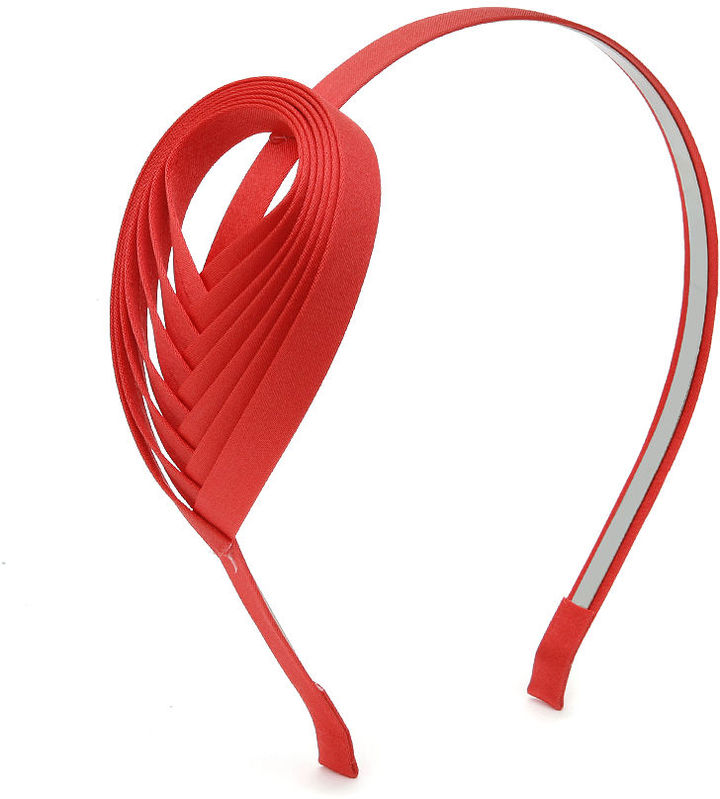 JUKO Headband with woven ribbon accent, Coral 1 ea