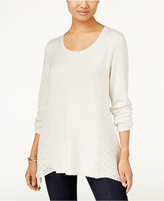 Style&Co. Style & Co Crochet-Detail Sweater, Only at Macy's