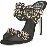 Rene Caovilla Arabesque Beaded Slide Sandal, Black