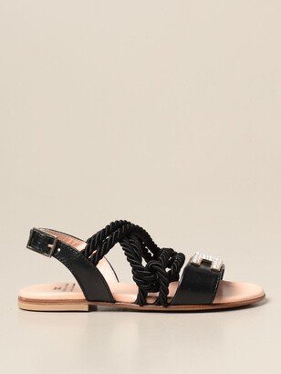 Elisabetta Franchi Sandal In Leather And Cord