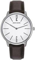 Pierre Cardin Men's 42mm Leather Band Steel Case Quartz Watch Pc106991f24