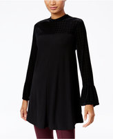 Style&Co. Style & Co. Mixed-Media Bell-Sleeve Top, Only at Macy's