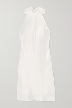 Galvan Satin Halterneck Mini Dress - White