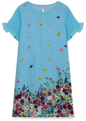 Yumi Girl - Multicoloured Floral Print Frill Sleeves Party Dress
