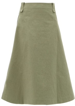 Toogood The Conductor Cotton-blend Midi Skirt - Light Green