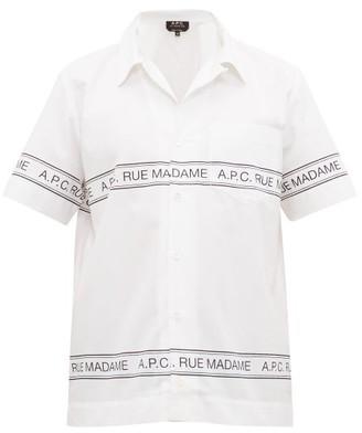 A.P.C. Logo-print Cotton-poplin Shirt - Mens - White