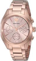 Emporio Armani Women's Quartz Stainless Steel Dress Watch, Color:Rose -Toned (Model: AR11051)
