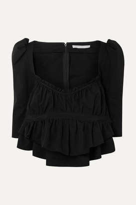 Brock Collection Grosgrain-trimmed Ruched Cotton Top - Black