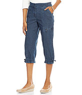 Allison Daley Ribbed Waist Cargo Denim Capri