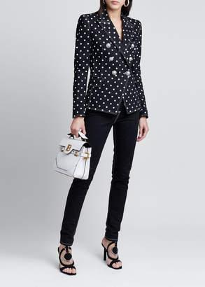 Balmain Polka-Dot Denim Jacket with 6 Silver Buttons