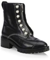 3.1 Phillip Lim Hayett Pearl-Embellished Leather Combat Boots