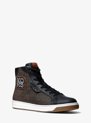 Michael Kors Keating Logo and Leather High-Top Sneaker