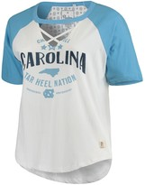 Unbranded Women's Pressbox White/Carolina Blue North Carolina Tar Heels Plus Size Abbie Criss-Cross Raglan Choker T-Shirt