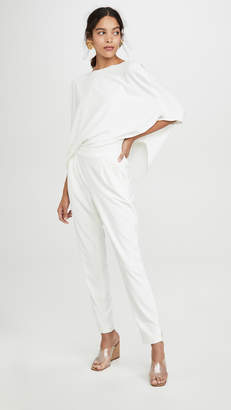 Halston Draped Sleeve Tapered Leg Crepe Jumpsuit