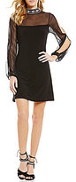 Jump Beaded Mock Neckline Illusion-Yoke Long Split Sleeves Sheath Dress