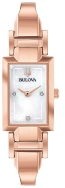 Bulova Women's Diamond-Accent Rose Gold-Tone Stainless Steel Bangle Bracelet Watch 18x33mm