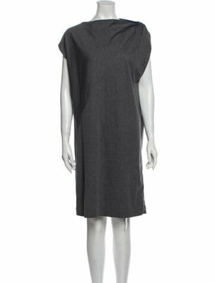 Brunello Cucinelli Bateau Neckline Knee-Length Dress Grey
