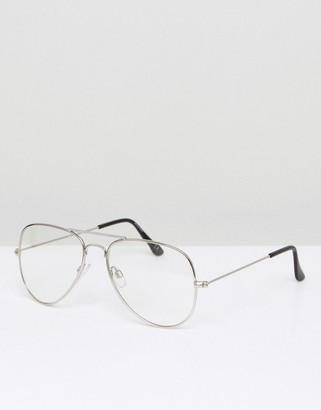 clear ASOS DESIGN aviator fashion glasses in silver metal with lenses