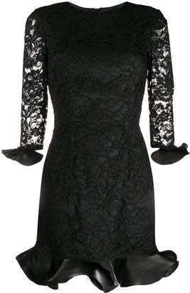 Elisabetta Franchi lace overlay peplum party dress