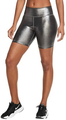 Nike One 7 Shorts Icon Clash Shimmer (Black/Black/Metallic Gold) Women's Casual Pants