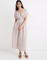 Madewell Linen-Blend Dolman-Sleeve Crossover Midi Dress