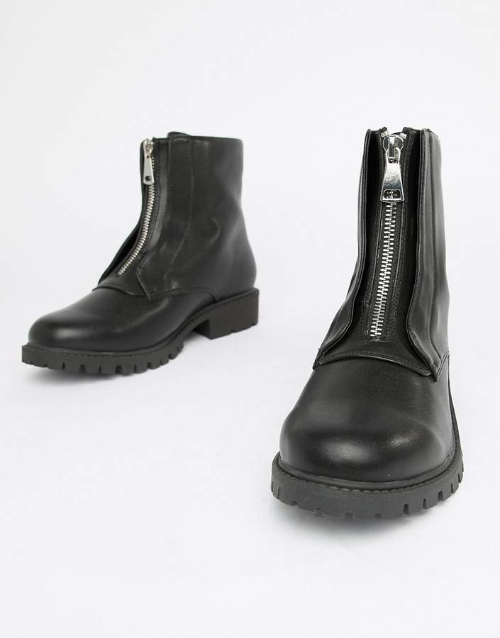 London Rebel Zip Up Chunky Flat Boots