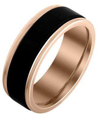 Armani Exchange Jewelry Mens 8mm Black and Rose Edged Tungsten Band