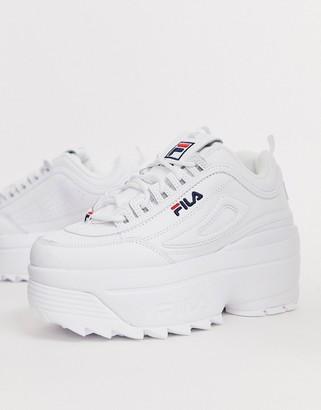 Fila Disruptor II platform wedge sneakers in white