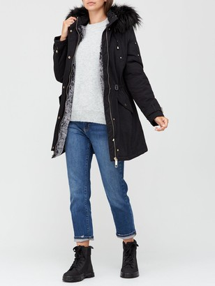 Very Glam Parka With Buckle Sleeve Detail - Black