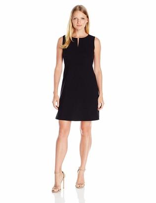 Ellen Tracy Women's Petite Size Split Neck A-Line Dress