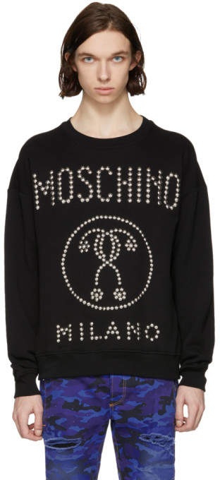 Moschino Black Studded Logo Sweatshirt