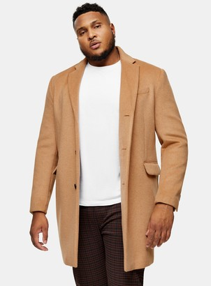 Topman BIG & TALL Camel Single Breasted Jacket With Wool*