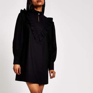 River Island Womens Petite Black frill high neck mini dress