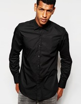 Antony Morato Shirt With Cut Away Collar In Slim Fit - Black