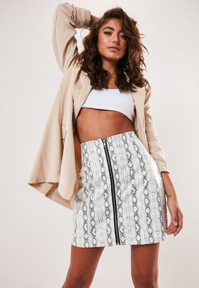 Missguided White Snake Print Faux Leather Zip Front Mini Skirt