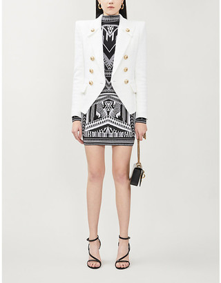 Balmain Double-breasted cotton-blend jacket