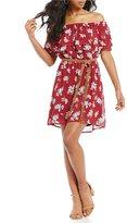 Sanctuary Skylar Off-the-Shoulder Belted Floral Print Shift Dress