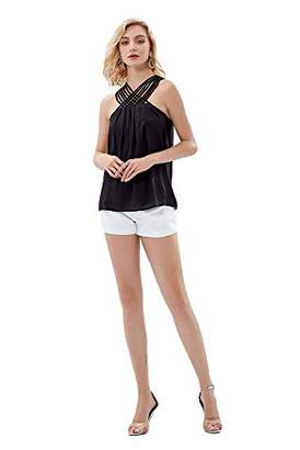 UP Ultrapink Junior Womens Woven Tank Strappy Front Halter Top