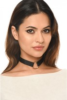 AX Paris Black Material With Gold Ring Choker