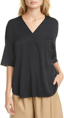 Vince Elbow Sleeve V-Neck Top