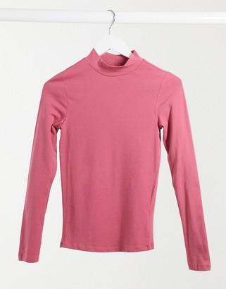 New Look turtleneck top in pink
